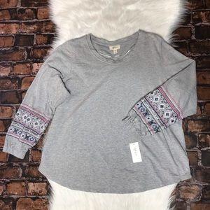 Style & Co Sequin Embroidered Sleeve Sweatshirt